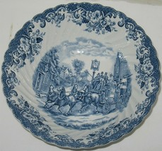 Vtg Johnson Brothers Coaching Scenes Blue/White Transferware Serving Bowl - $17.82