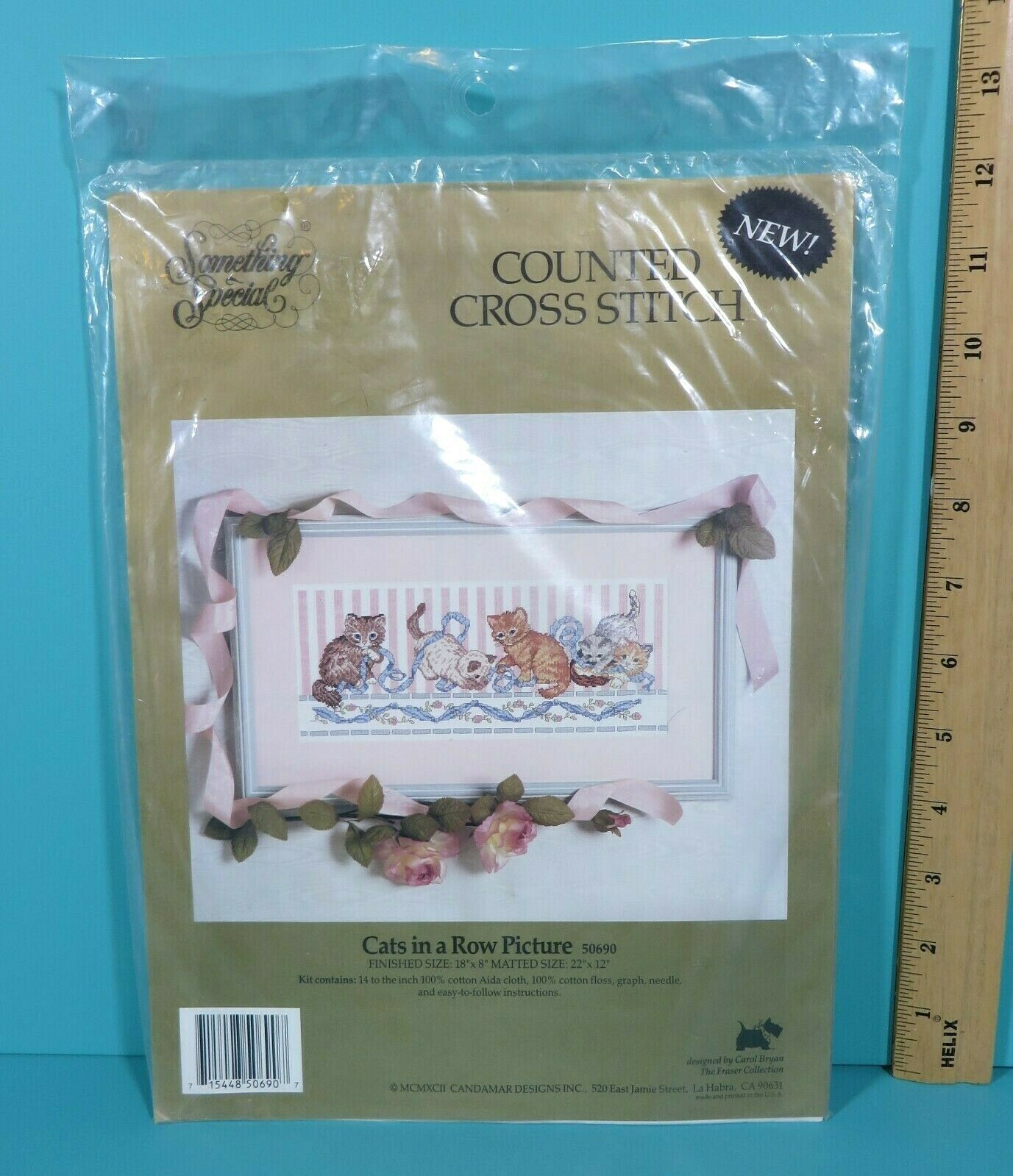 Primary image for Something Special Cats In A Row Picture Counted Cross Stitch Kit #50690 1992 New