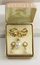 VINTAGE Jewelry SIGNED 1928 COMPANY FX PEARL DANGLE BROOCH & EARRINGS SE... - $20.00
