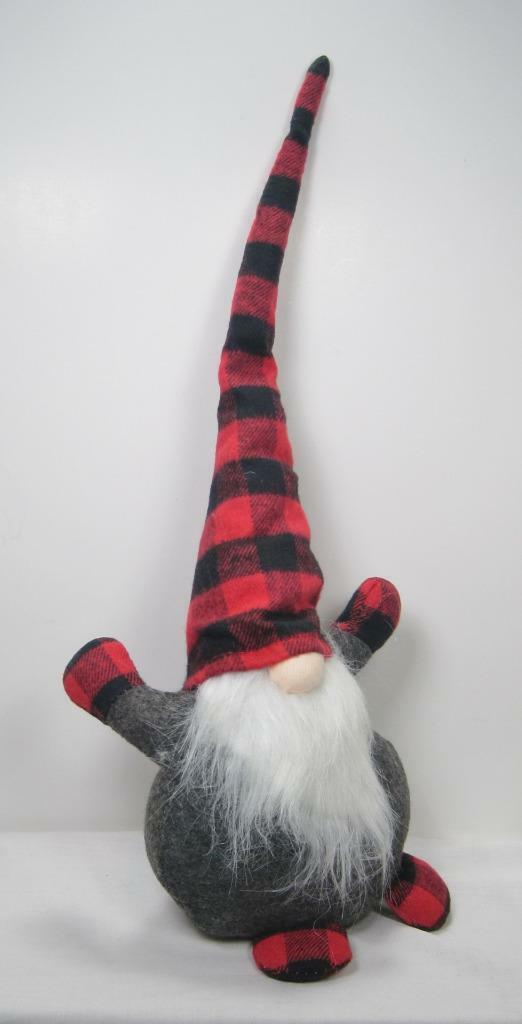"Primary image for 19"" Scandinavian Chubby Sitting Gnome with Red & Black Plaid Hat Christmas Decor"