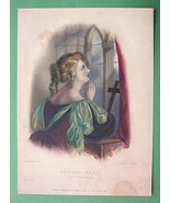 LORD BYRON'S Love Praying Aurora - Finely Hand Colored H/C Antique Print - $9.45