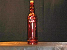 Red decorative bottle with cork AA19-1572 Vintage image 3