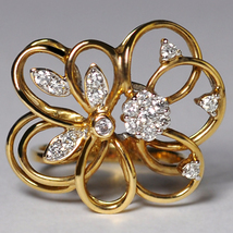 Custom Natural Diamond Openwork Filigree Flower Ring Women 14K Yellow Gold - $899.00