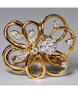 Custom Natural Diamond Openwork Filigree Flower Ring Women 14K Yellow Gold - $899.00