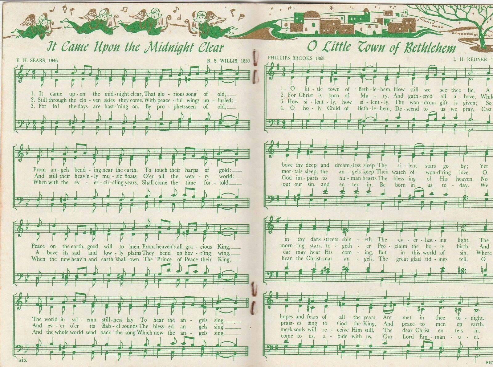 Christmas Carols Trust Company Bank Atlanta Georgia Mid Century Vintage Songbook