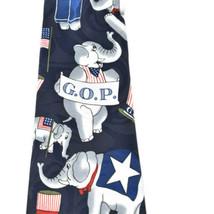 Fratello G.O.P. Republican Elephants Flags Silk Tie Necktie image 2