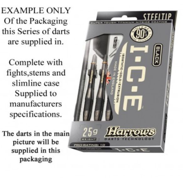 Harrows BLACK ICE 90% Tungsten 26 Gram Steel Tip Darts 26gR