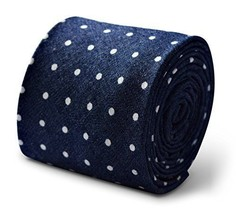 Frederick Thomas navy and white polka spot men's cotton tie
