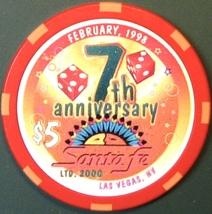 $5 Casino Chip, Santa Fe, Las Vegas, NV. 7th Anniversary 1998. M31. - $6.50