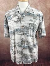 Tommy Bahama Hawaiian Island Button Front Short Sleeve Gray Shirt Men's M - $19.79