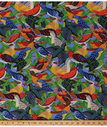 Cotton Ark for Birds on Tree Branches Avian Blue Cotton Fabric Print BTY... - $8.92