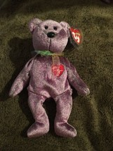 Ty Beanie Babies 2000 Signature Teddy Bear Purple  Tag Excellent PE - $2.61