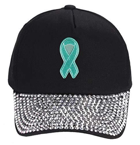 Teal Ribbon Awareness Hat - Unisex Adjustable Snapback Cap (Rhinestone)