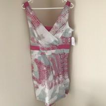 NWT Sz 8 JESSICA SIMPSON DRESS White Blue Pink Cap Sleeveless $128 AA128 - $22.24
