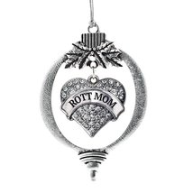 Inspired Silver Rott Mom Pave Heart Holiday Christmas Tree Ornament With... - $14.69