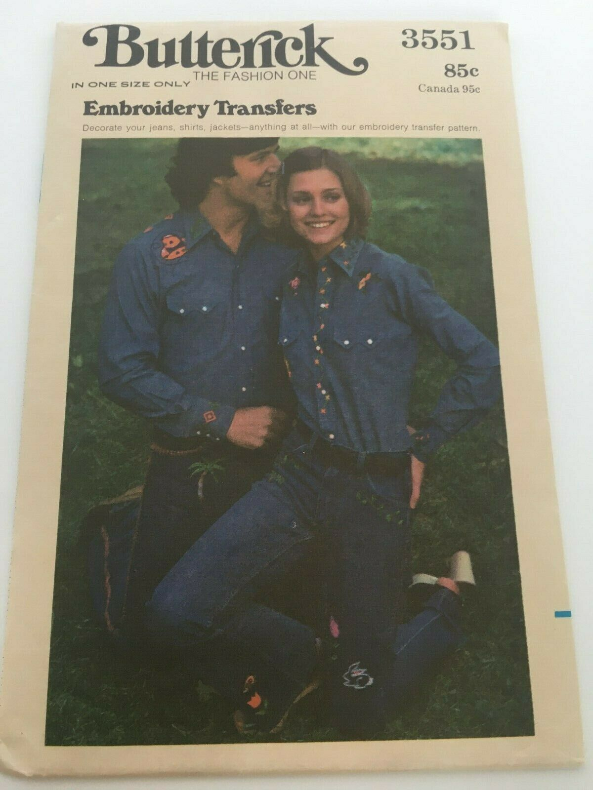 Butterick Embroidery Transfers Pattern 3551 Decorate Jeans Shirts Jacket 1970s - $3.99