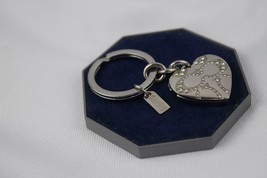 Coach Heart Pave Crystal Signature C Keychain - Silver - $50.00