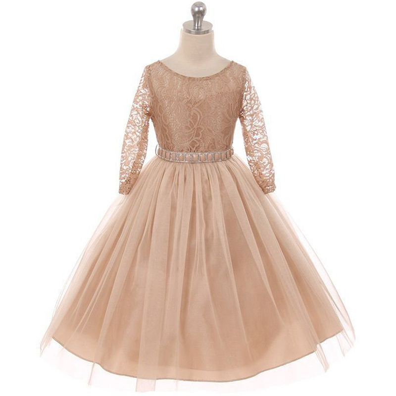 Primary image for Champagne Long Sleeve Stretchy Lace Bodice Tulle Skirt with Belt Flower Dress