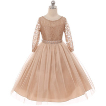Champagne Long Sleeve Stretchy Lace Bodice Tulle Skirt with Belt Flower Dress - $39.99+