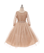 Champagne Long Sleeve Stretchy Lace Bodice Tulle Skirt with Belt Flower ... - $39.99+