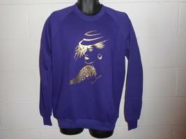 Vintage Topsy Turvy 80s Girl Purple Gold Sweatshirt XL - $24.99