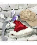 Build A Bear Workshop Headwear 4Pc Lot Cabbie Cap Ear Muffs Santa Hat Bu... - $14.84