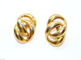 vintage Napier gold Clip earrings interlocking circle - $2.96