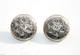 vintage round silver floral metal Clip earrings button shaped flower - $2.96