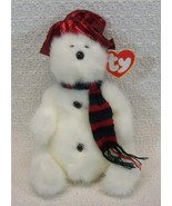 Ty Attic Treasures NORTH White Fluffy Snowmanw/Scarf Hat 1993 - $6.85