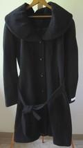 NEW Women's CALVIN KLEIN Black Wool Shawl Collar Belted Walker Jacket Coat Sz 14 - $149.95
