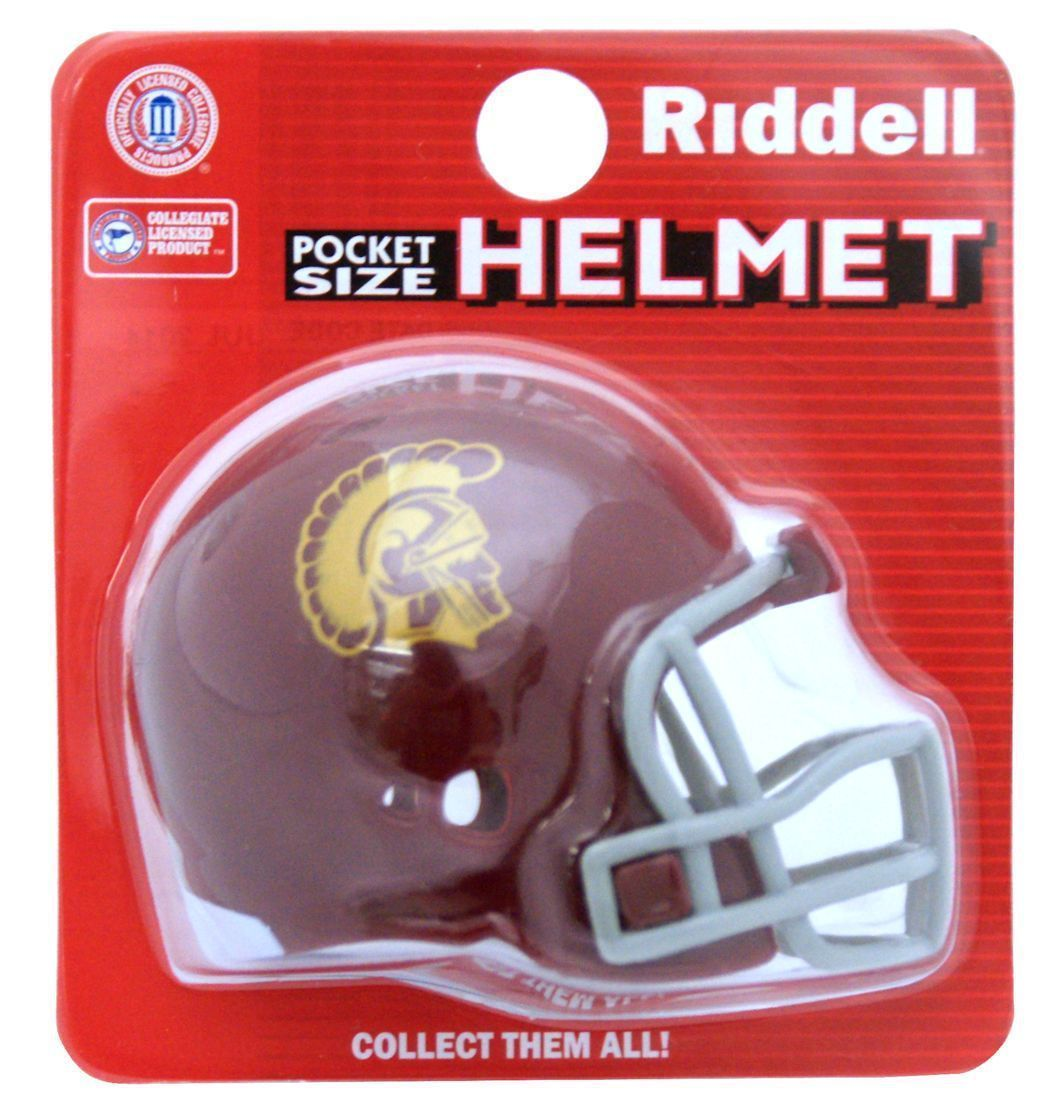 "USC TROJANS POCKET PRO FOOTBALL HELMET 2"" SIZE  Made By RIDDELL!"