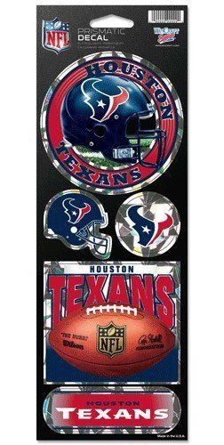 HOUSTON TEXANS PRISMATIC HOLOGRAPH STICKER DECAL SHEET OF 5 NFL FOOTBALL