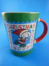 Large Peanuts Charlie Brown Ice Skating  Christmas Coffee tea cocoa Mug ... - $9.00