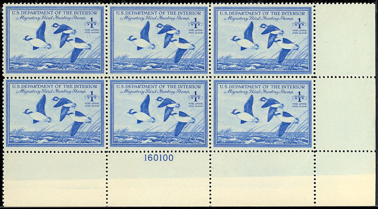 RW15 Duck Plate Block of Six VF-XF NH Cat $400.00 - Stuart Katz