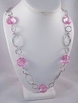"""One New Long 36"""" Silver Tone Necklace With Pink Acrylic Faceted Beads #N... - $5.44"""