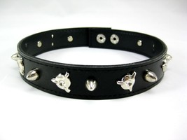 New Goth Punk Biker Faux Leather Choker Necklace with Metal Spikes #N2515 - $3.99