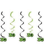 30th Birthday Hanging Swirls 5 dizzy danglers in pkg black & green colors - $3.95