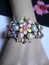 New Women Metal Cuff Wide Bracelet Bead Flower Butterfly Big Pearl Beads Pastel - $14.69