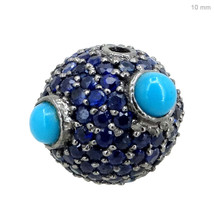 925 Sterling Silver Blue Sapphire/ Turquoise Spacer Ball Disco Bead Find... - $163.63