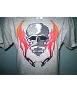 Harley-Davidson Gray T-Shirt Large W-Skull & Flames Buffalo, NY - $20.00