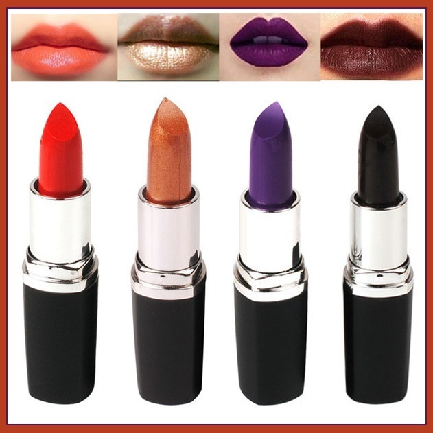 Lipstick Vampire Lip Color 4 Matte Shades Orange Golden Violet and Vampire Blood