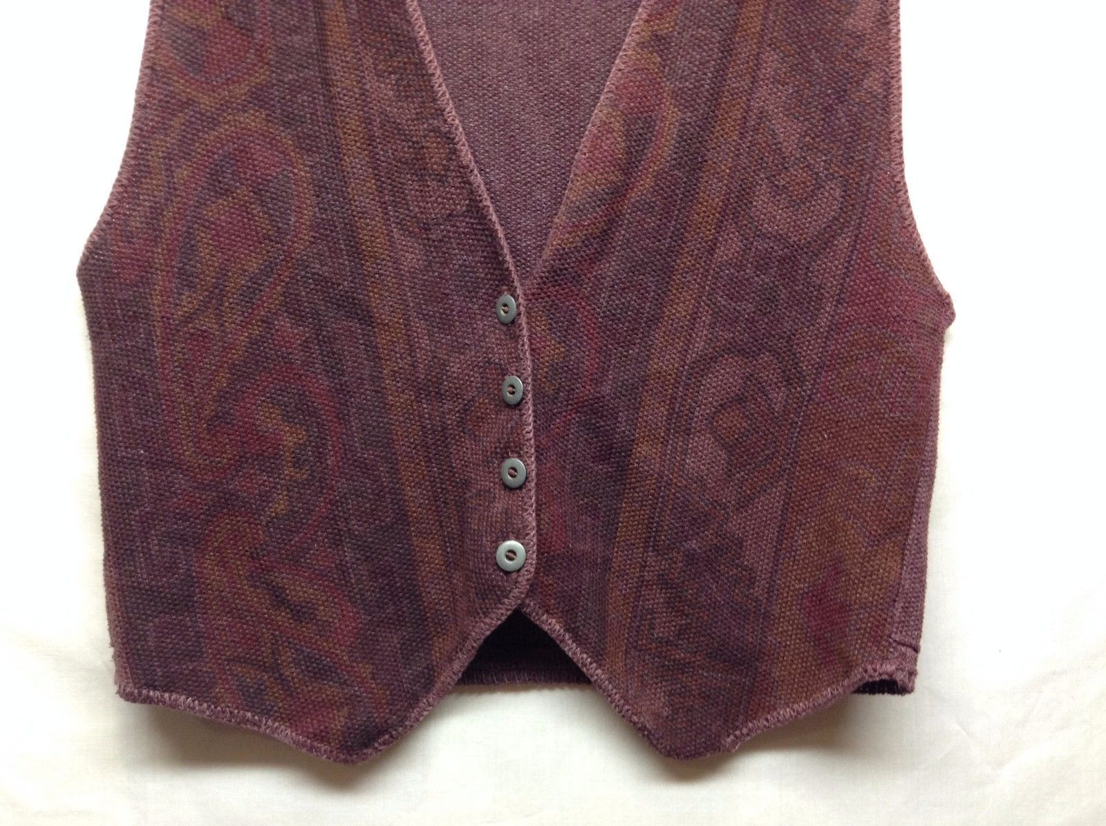 United States Sweaters Purple Patterned Button Up Vest Sz M  image 3