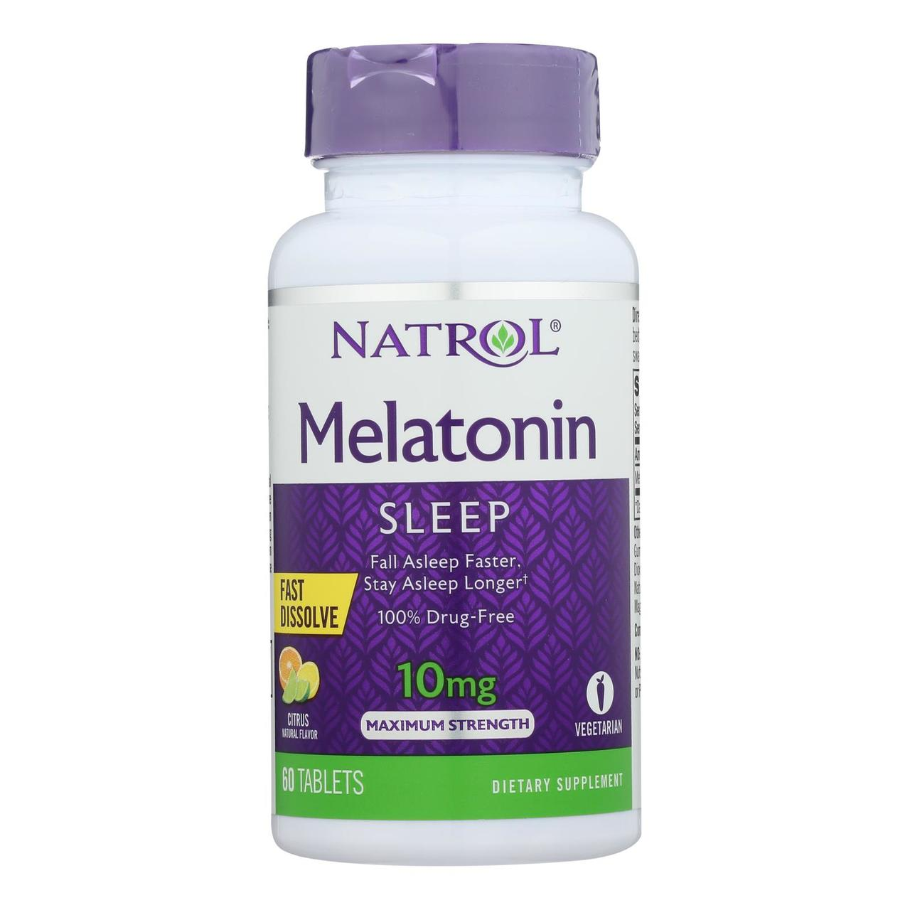 Natrol Melatonin Fast Dissolve Tablets Citrus Punch 10mg, 60 Count (Pack of 6) - $48.06