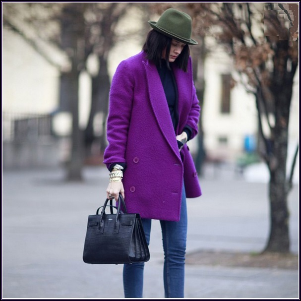 Big Lapel Collar Double Breasted Thigh Length Woolen Cotton Purple Coat Jacket