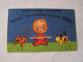 Tichnor Comic Postcard Burning The Candle At Both Ends Vintage - $4.00