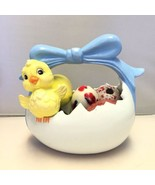 Vintage Ceramic Easter Basket with Chick and Ei... - $4.85