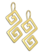 Double Meander-Greek Key - 24K/ Gold Plated Sterling Silver Pierced Earr... - $53.00