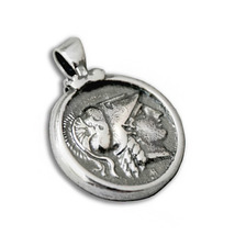 Goddess Athena & Nike Stater - Greek Coin Sterling Silver Pendant  - $35.00