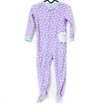 Carters Lamb Footie Pajamas 5T Girls Purple Sheep PJs Hearts Soft - $23.62
