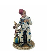 Porcelain Clown Figurine D'arte Italy cookie puppy dog carnival sculptur... - $145.13